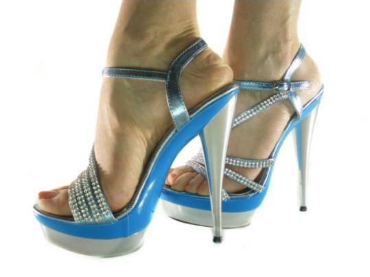 Sandali Donna con Strass e Plateau Gioiello Blu e Argento