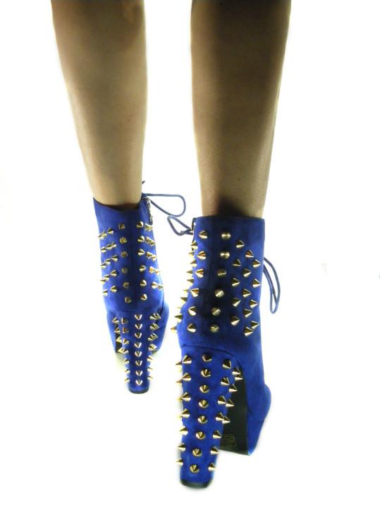 Scarpe Donna Stivaletti Tronchetti con Borchie Velluto Blu Electric