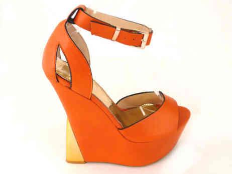 sandali zeppa arancio