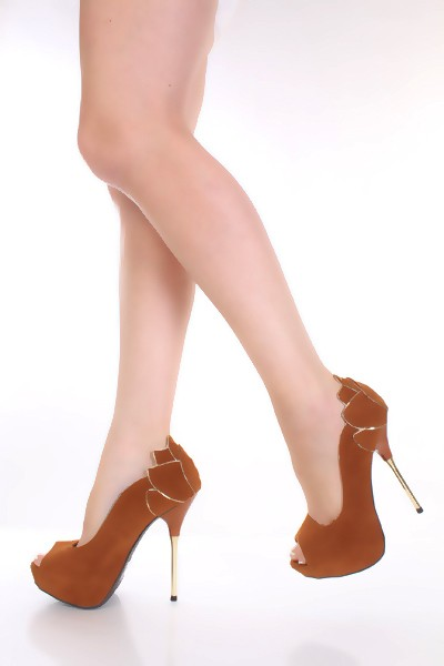 scarpe decollete nabuk marrone oro