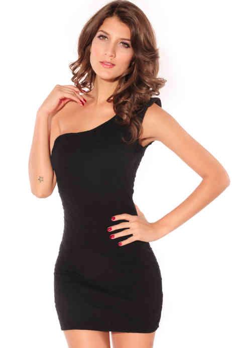 mini abito monospalla nero (1)