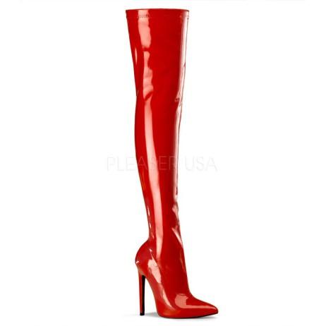 stivale strech al ginocchio pleaser sexy 3000 rosso
