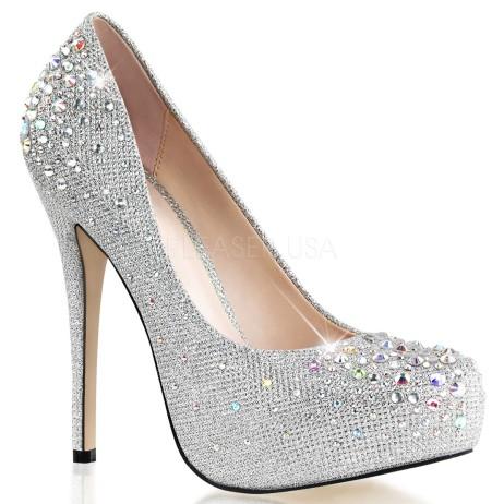 scarpe decolte strass pleaser destiny 06 r bianco