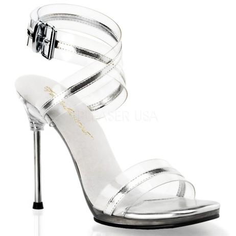 sandali gioiello skinny trasparenti tacco spillo argento particolari