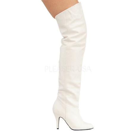 stivali al ginocchio vera pelle bianco pleaser 8868h4
