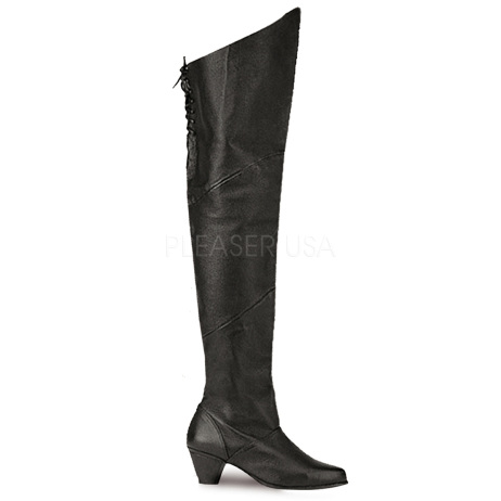 stivali al ginocchio vera pelle nero larghi maiden-8828-ble