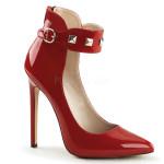 scarpe decoltè eleganti fibbia borchie rosso vernice sexy-31-r