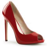 decoltè scarpe donna vernice rosso spuntate sexy-42-r