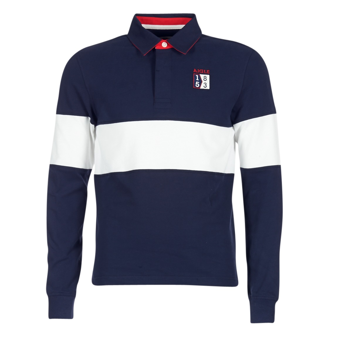 Polo maniche lunghe uomini Aigle 53 RUGBY Blu  Free Shipping  OutletScarpeOnline.it