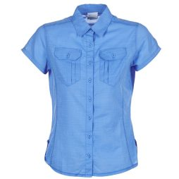 Camicia donna Columbia  CAMP HENRY SOLID SHORT SLEEVE SHIRT  Blu Columbia 888458811283