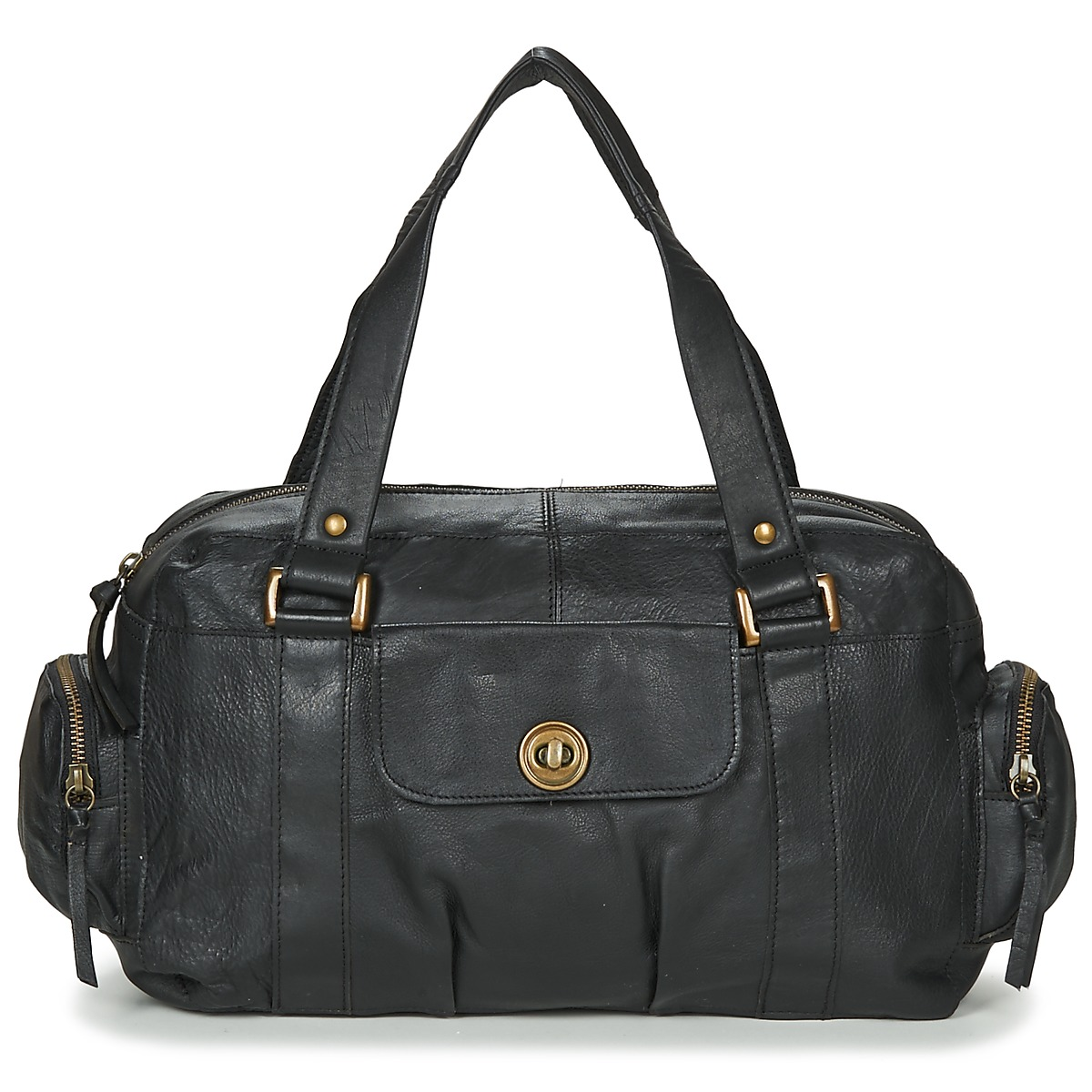 Borsa a spalla donna Pieces  TOTALLY ROYAL LEATHER SMALL  Nero