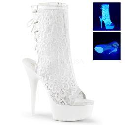 Stivaletti Donna alla Caviglia Lap Dance Tacco 15Plateau 4Neon Wht Mesh -Lace/Neon WhtPleaserDELIGHT-1018ML DEL1018ML/NW/M