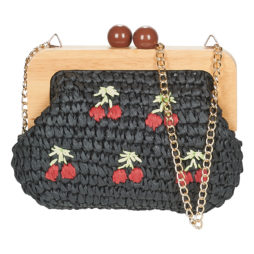 Borsa a tracolla donna Lollipops  DATIC WOOD FRAME  Nero