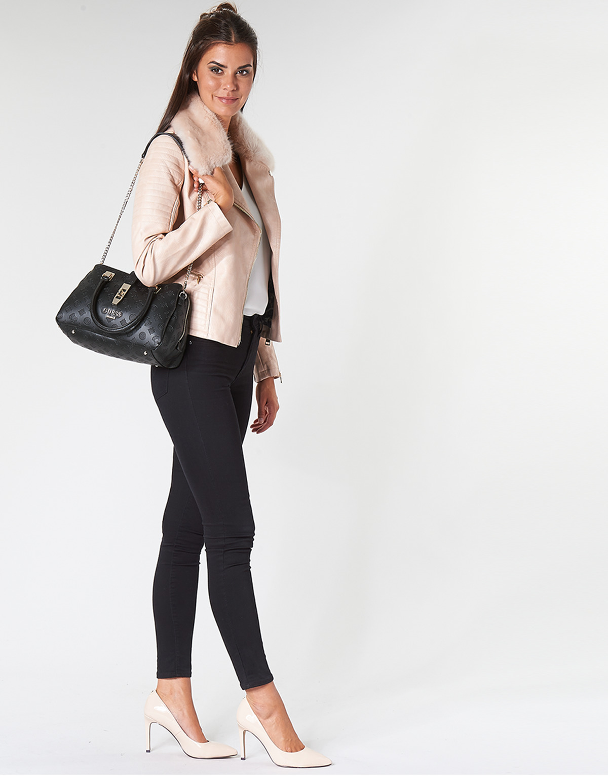 Giacca in pelle donna Guess TASHA Rosa