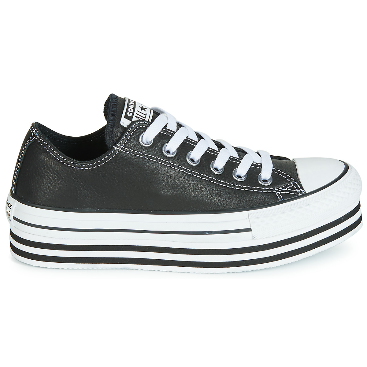 Converse CHUCK TAYLOR ALL STAR LAYER BOTTOM LEATHER OX Nero 15514206 Free Delivery OutletScarpeOnline.it