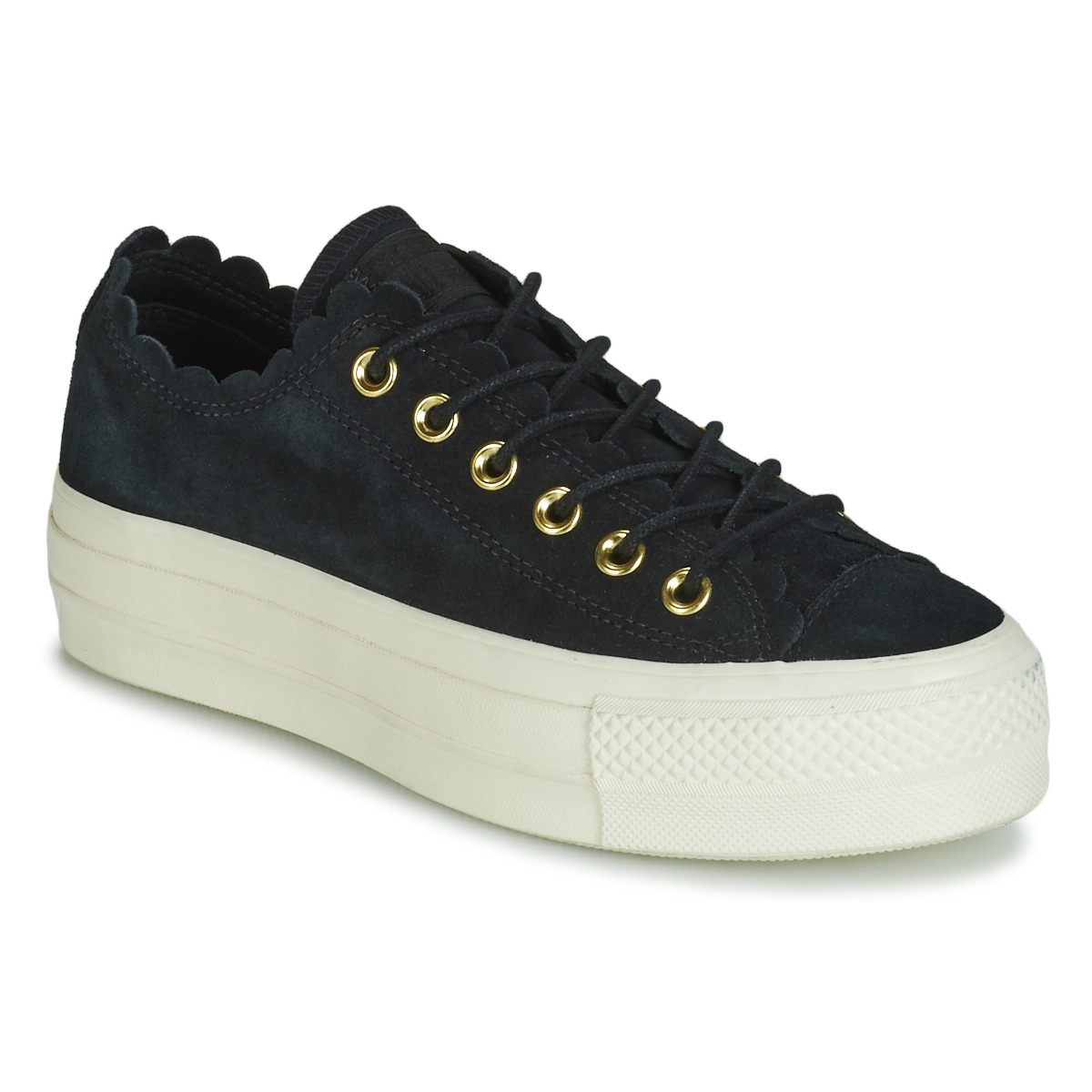 Sneakers Scarpe donna Converse CHUCK TAYLOR ALL STAR PLATFORM FRILLY THRILLS SUEDE OX Nero