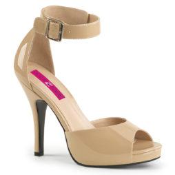 Pleaser Pink Label EVE-02 Sandali Donna  Tacco Alto 12 Plateau 1.3 Beige Nudo EVE02/CR