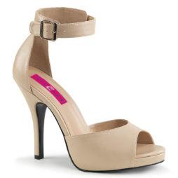 Pleaser Pink Label EVE-02 Sandali Donna  Tacco Alto 12 Plateau 1.3 Cream Faux Leather EVE02/CRPU