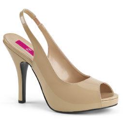 Pleaser Pink Label EVE-04 Sandali Slingback  Tacco Alto 12 Plateau 1.3 Beige Nudo EVE04/CR