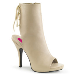 Pleaser Pink Label EVE-102 Tronchetti  Tacco Alto 12 Plateau 1.3 Cream Faux Leather EVE102/CRPU