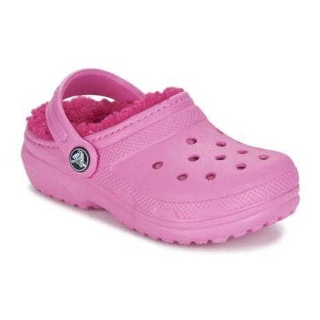 Scarpe bambini ragazza Crocs  CLASSIC LINED CLOG K  Rosa Crocs 887350785951